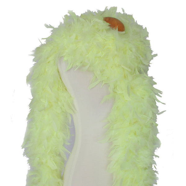 180 Grams Neon Yellow Chandelle Feather Boa For Sale