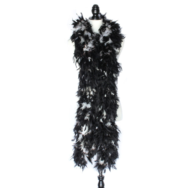 180 Grams White With Black Tips Chandelle Feather Boa
