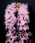 180 Grams Baby Pink With Black Tips Chandelle Feather Boa