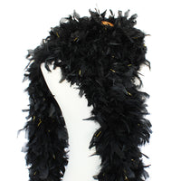 180 Grams Black With Gold Tinsel Chandelle Feather Boa