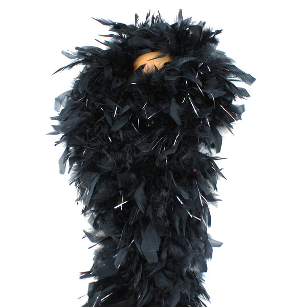 180 Grams Black With Silver Tinsel Chandelle Feather Boa