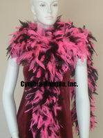 180 Grams Hot Pink/Black Mix Chandelle Feather Boa