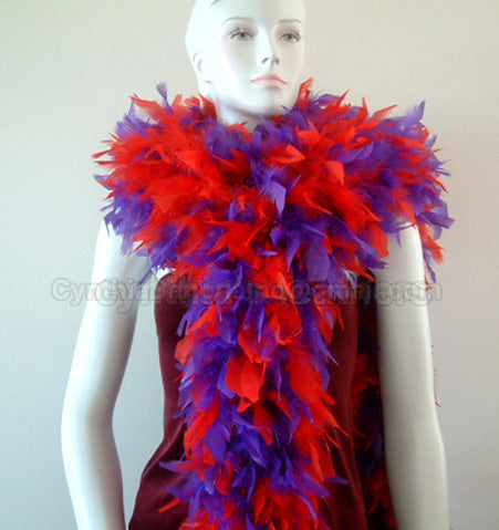 180 Grams Red/Purple Mix Chandelle Feather Boa