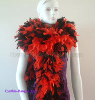 180 Grams Red/Black Mix Chandelle Feather Boa