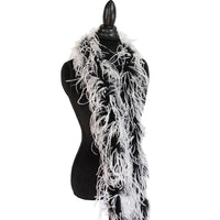 "1 ply 72"" White/Black mix Ostrich Feather Boa"