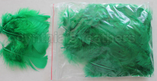 "0.35 oz Emerald Green  3-4"" Turkey Plumage Loose Feathers 80-120 Pieces"