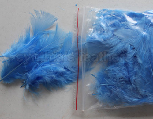 "0.35 oz Periwinkle  3-4"" Turkey Plumage Loose Feathers 80-120 Pieces"