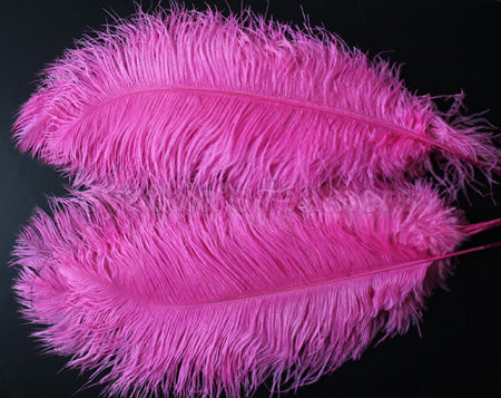 "Ostrich Feather, One Piece 20-22"" Hot Pink Ostrich Drab Plume Feather"