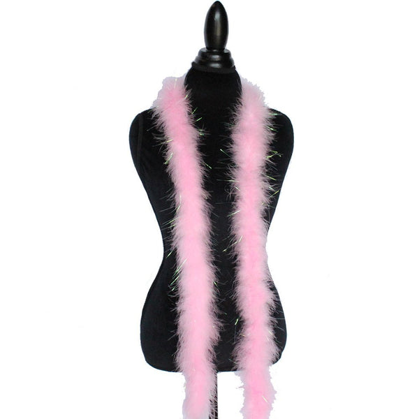 22 Grams Pink With Lurex Tinsel Marabou Feather Boa