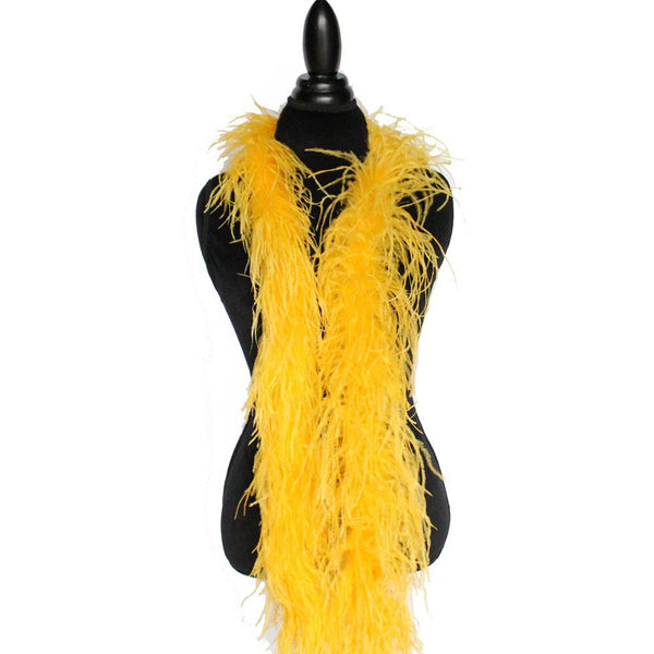 "2 ply 72"" Gold Yellow Ostrich Feather Boa"