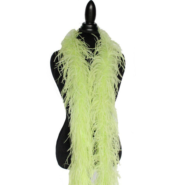 "2 ply 72"" Light Lime Green Ostrich Feather Boa"