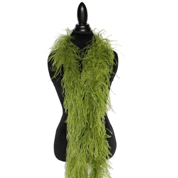 "2 ply 72"" Olive Green Ostrich Feather Boa"