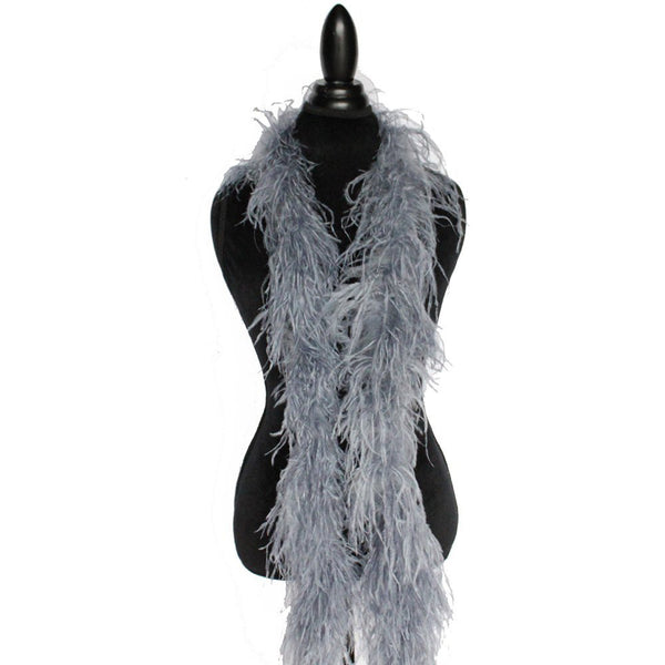 "2 ply 72"" Silver Grey Ostrich Feather Boa"