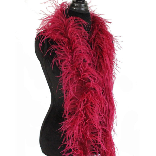 "3 ply 72"" Burgundy Ostrich Feather Boa"