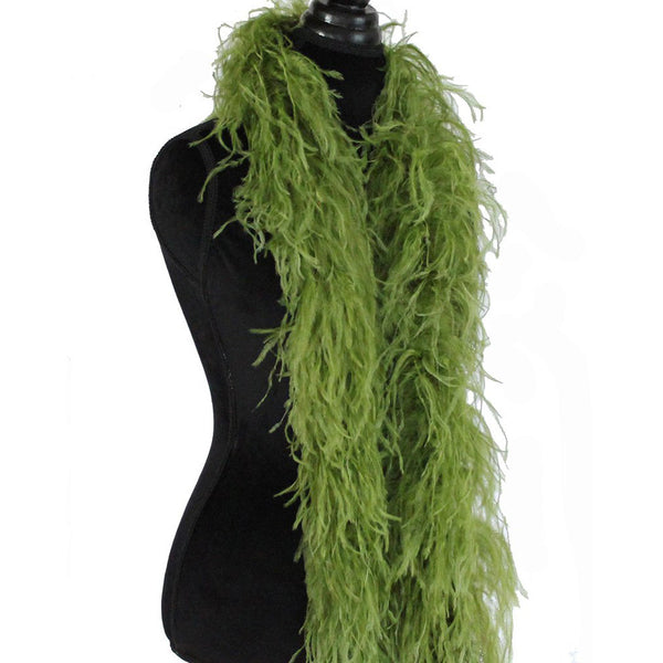 "3 ply 72"" Olive Green Ostrich Feather Boa"