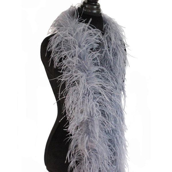 "3 ply 72"" Silver Grey Ostrich Feather Boa"