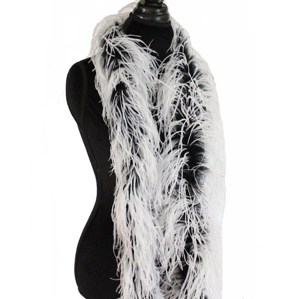 "3 ply 72"" Black/White Mix Ostrich Feather Boa"