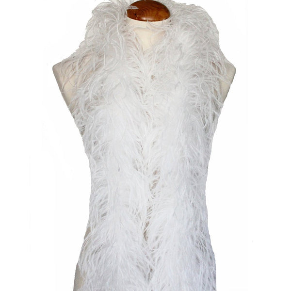 "3 ply 72"" White Ostrich Feather Boa"