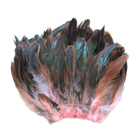 "20 Grams (0.7 oz) 4-6"" Half Bronze Baby Pink Schlappen Coque Rooster Tail Feathers, ~200 pcs"