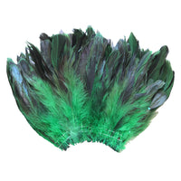 "20 Grams (0.7 oz) 4-6"" Half Bronze Emerald Green Schlappen Coque Rooster Tail Feathers, ~200 pcs"
