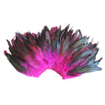 "20 Grams (0.7 oz) 4-6"" Half Bronze Fuchsia Schlappen Coque Rooster Tail Feathers, ~200 pcs"