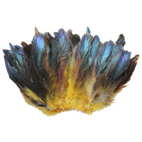 "20 Grams (0.7 oz) 4-6"" Half Bronze Golden Yellow Schlappen Coque Rooster Tail Feathers, ~200 pcs"