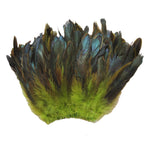 "20 Grams (0.7 oz) 4-6"" Half Bronze Lime Green Schlappen Coque Rooster Tail Feathers, ~200 pcs"
