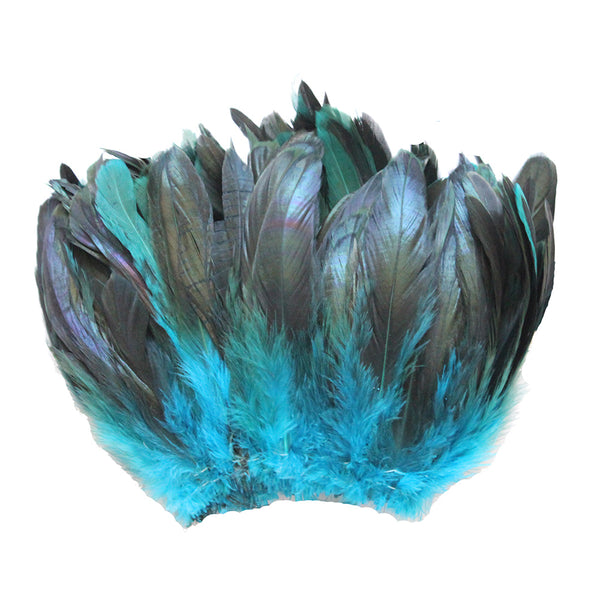 "20 Grams (0.7 oz) 4-6"" Half Bronze Turquoise Schlappen Coque Rooster Tail Feathers, ~200 pcs"