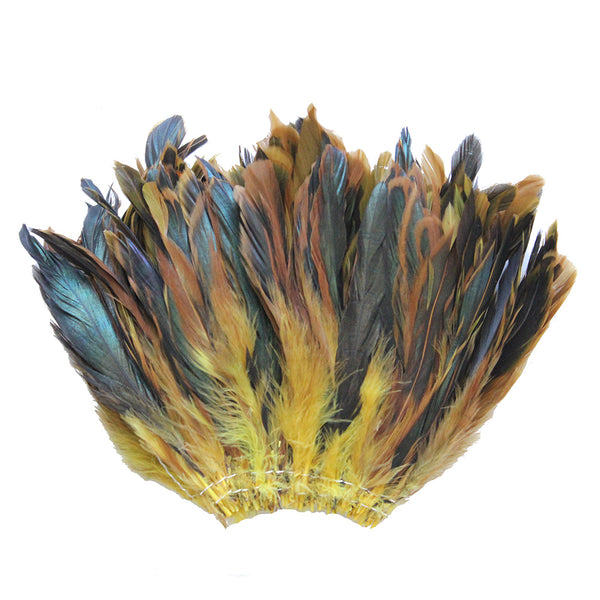 "20 Grams (0.7 oz) 4-6"" Half Bronze Yellow Schlappen Coque Rooster Tail Feathers, ~200 pcs"