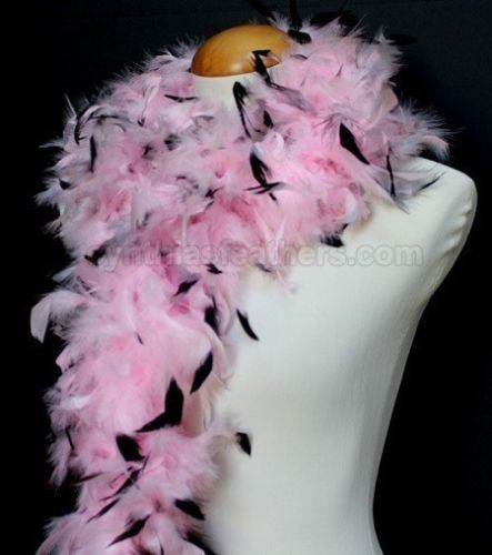 45 Grams Baby Pink With Black Tips Chandelle Feather Boa