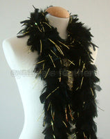 45 Grams Black With Gold Tinsel Chandelle Feather Boa