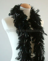 45 Grams Black with Silver Tinsel Chandelle Feather Boa