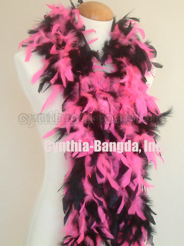 45 Grams Hot Pink/Black Mix Chandelle Feather Boa