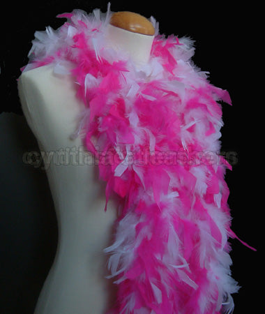 45 Grams White/Hot Pink Mix Chandelle Feather Boa