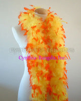 45 Grams Yellow With Orange Tips Chandelle Feather Boa