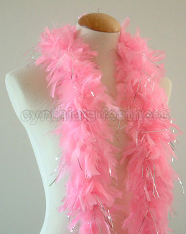 45 Grams Baby Pink With Silver Tinsel Chandelle Feather Boa
