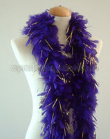 45 Grams Purple With Gold Tinsel Chandelle Feather Boa