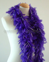 45 Grams Purple With Silver Tinsel Chandelle Feather Boa
