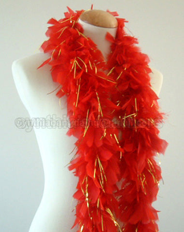 45 Grams Red with Gold Tinsel Chandelle Feather Boa
