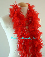45 Grams Red With Silver Tinsel Chandelle Feather Boa