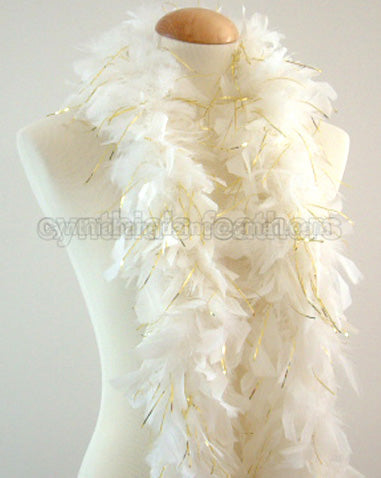 45 Grams White With Gold Tinsel Chandelle Feather Boa