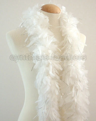 45 Grams White With Silver Tinsel Chandelle Feather Boa