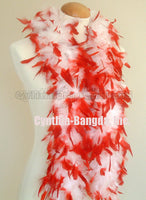 45 Grams White With Red Tips Chandelle Feather Boa