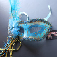 Venetian Mask, Turquoise  Venetian Ostrich Feather Masquerade Mask 4B5A SKU: 6F42