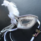 Venetian Mask, White  Venetian Ostrich Feather Masquerade Mask 4B6B SKU: 6F51