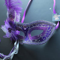 Venetian Mask, Purple with Silver Decor Venetian Ostrich Feather Masquerade Mask 4B7B SKU: 6F52