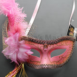 Venetian Mask, Hot Pink Venetian Ostrich Feather Masquerade Mask 4B8A SKU: 6F52