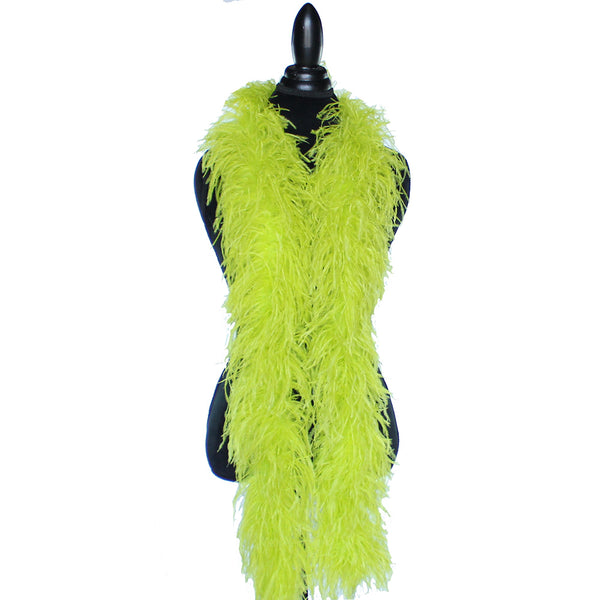 "4 ply 72"" Chartreuse Green Ostrich Feather Boa"
