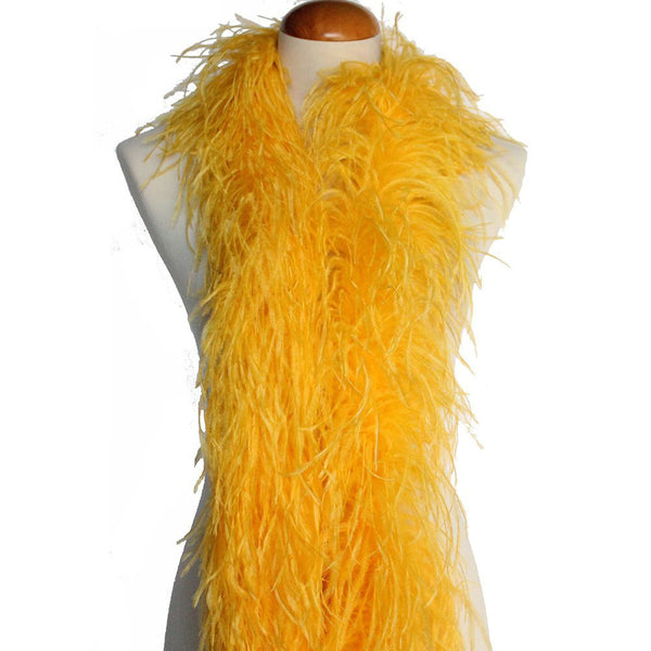 "4 ply 72"" Gold Yellow Ostrich Feather Boa"