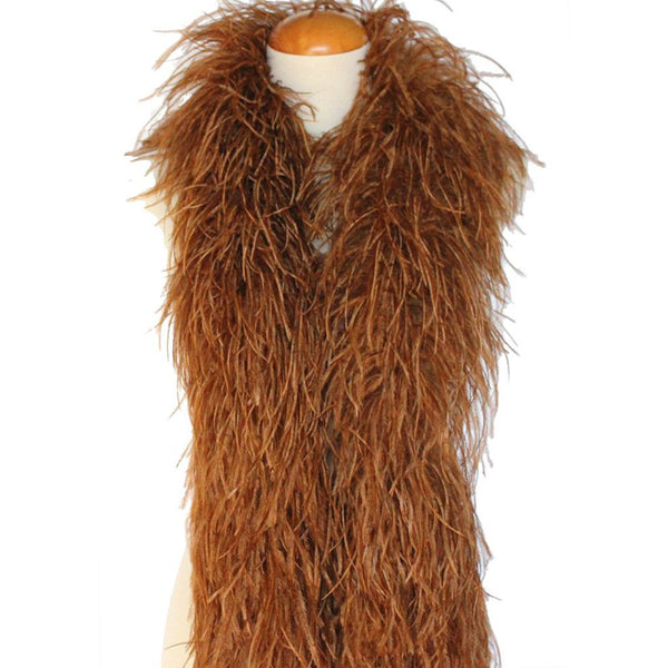 "4 ply 72"" Soft Brown Ostrich Feather Boa"